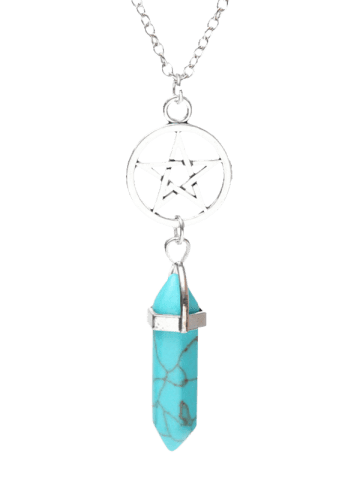 Fashion Natural Stone Star Circle Pendant Necklace - TURQUOISE BLUE  Mobile