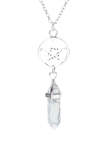 Natural Stone Star Circle Pendant Necklace - White - W71 Inch * L91 Inch