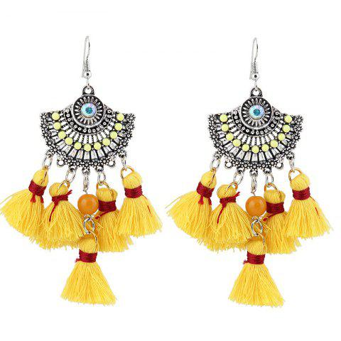 Discount Vintage Tassel Hook Chandelier Earrings YELLOW