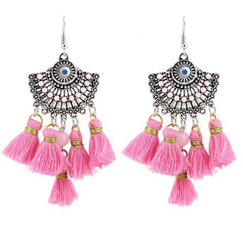 Store Vintage Tassel Hook Chandelier Earrings - PINK  Mobile