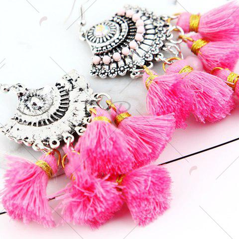 Outfit Vintage Tassel Hook Chandelier Earrings - PINK  Mobile