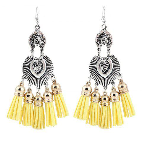 Outfit Face Engraved Tassel Chandelier Hook Earrings YELLOW