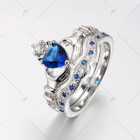 Outfit Faux Sapphire Crown Heart Finger Ring Set - 6 BLUE Mobile