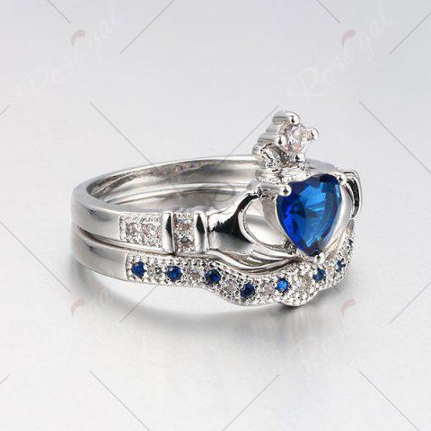 Affordable Faux Sapphire Crown Heart Finger Ring Set - 6 BLUE Mobile