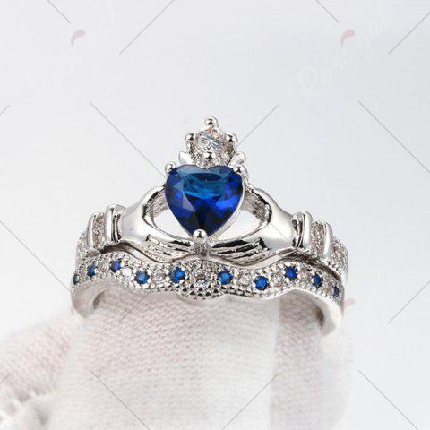 Affordable Faux Sapphire Crown Heart Finger Ring Set - 7 BLUE Mobile