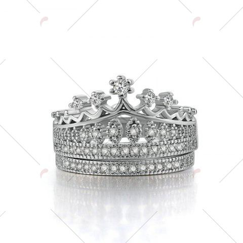 Cheap Rhinestone Crown Sparkly Finger Ring Set - 6 SILVER Mobile