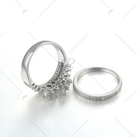 Buy Rhinestone Crown Sparkly Finger Ring Set - 8 SILVER Mobile