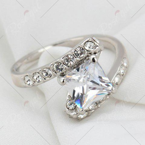 Fashion Rhinestone Sparkly Faux Crystal Finger Ring - 6 SILVER Mobile