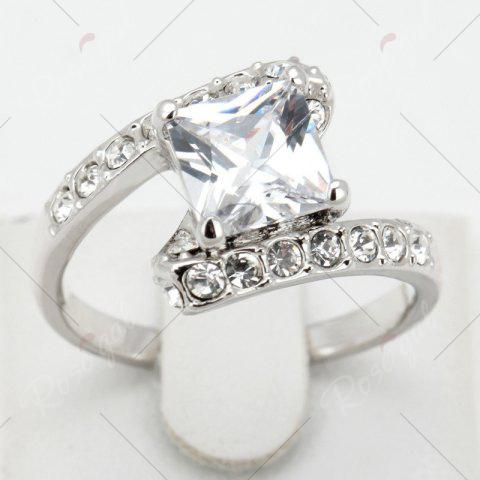 Trendy Rhinestone Sparkly Faux Crystal Finger Ring - 6 SILVER Mobile