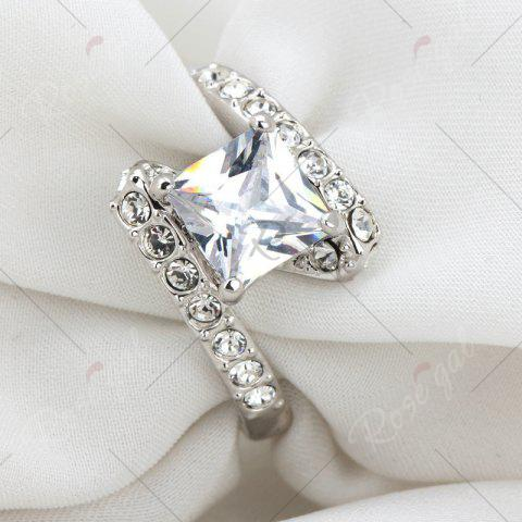 Fashion Rhinestone Sparkly Faux Crystal Finger Ring - 7 SILVER Mobile