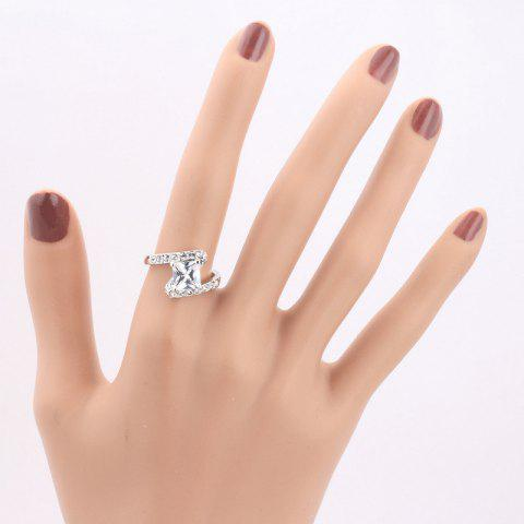 Trendy Rhinestone Sparkly Faux Crystal Finger Ring - 7 SILVER Mobile