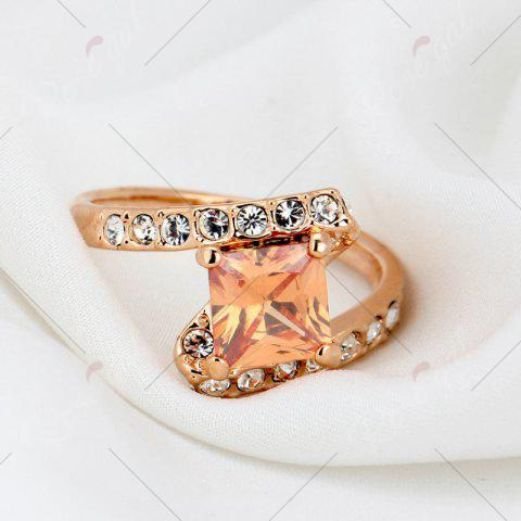 Online Rhinestone Sparkly Faux Crystal Finger Ring - 8 CHAMPAGNE Mobile