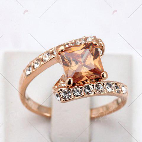 Fashion Rhinestone Sparkly Faux Crystal Finger Ring - 8 CHAMPAGNE Mobile