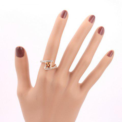 Fashion Rhinestone Sparkly Faux Crystal Finger Ring - 7 CHAMPAGNE Mobile