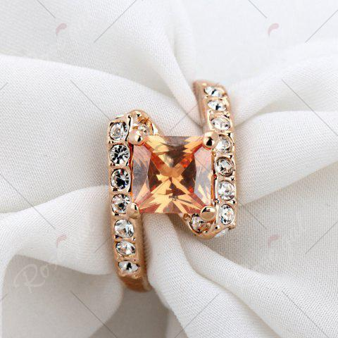 Online Rhinestone Sparkly Faux Crystal Finger Ring - 7 CHAMPAGNE Mobile