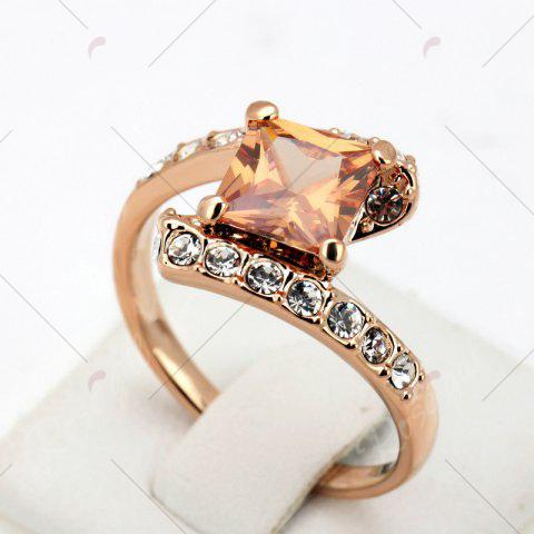 Online Rhinestone Sparkly Faux Crystal Finger Ring - 6 CHAMPAGNE Mobile