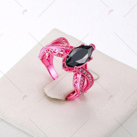 Store Rhinestone Statement Heart Finger Ring - 6 ROSE RED Mobile