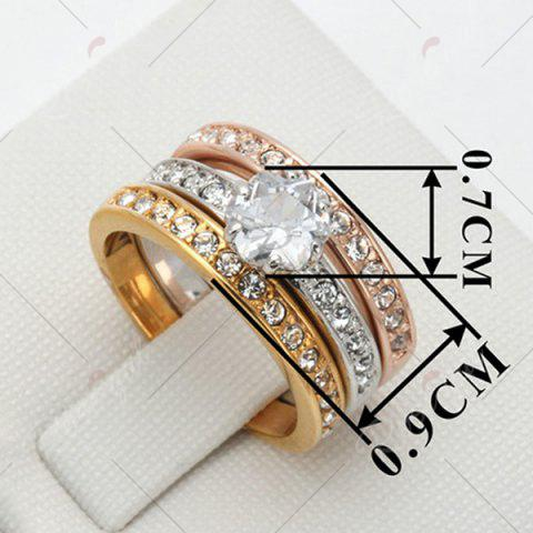 Sale Rhinestoned Round Finger Ring Set - 6 COLORMIX Mobile