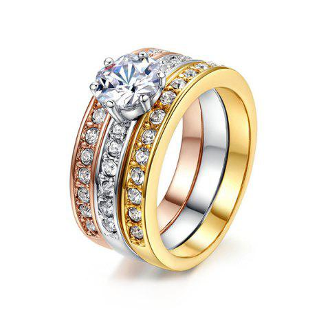 Buy Rhinestoned Round Finger Ring Set COLORMIX 6