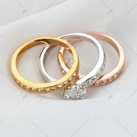 Best Rhinestoned Round Finger Ring Set - 6 COLORMIX Mobile