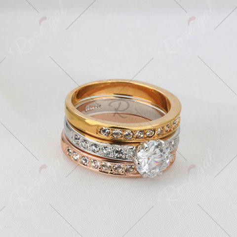 Cheap Rhinestoned Round Finger Ring Set - 6 COLORMIX Mobile