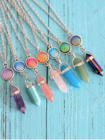 Latest Natural Stone Mermaid Scale Collarbone Necklace - PINK  Mobile