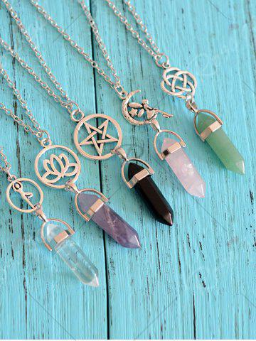 Outfit Natural Stone Geometric Collarbone Pendant Necklace - PINK  Mobile