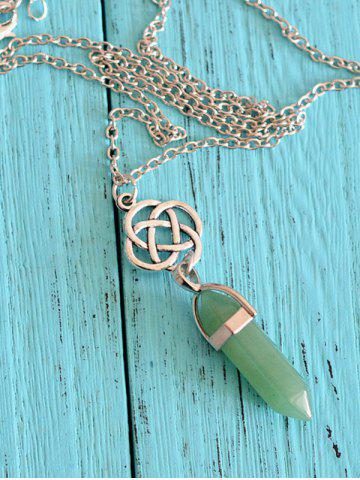 Natural Stone Geometric Collarbone Pendant Necklace - Green - W59 Inch * L51 Inch