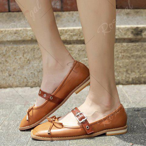 Sale Square Toe Bowknot Mary Jane Flats - 38 BROWN Mobile