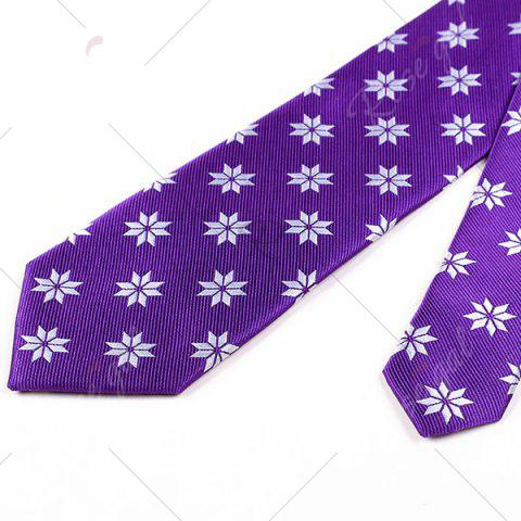 Store Geometric Flower Printed Polyester Neck Tie - PURPLE  Mobile