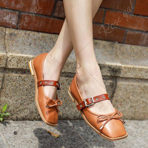 Online Square Toe Bowknot Mary Jane Flats - 38 BROWN Mobile