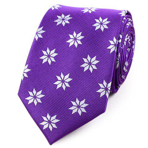 Chic Geometric Flower Printed Polyester Neck Tie - PURPLE  Mobile