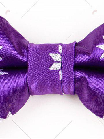 New Polyester Geometrical Flower Pattern Bow Tie - PURPLE  Mobile