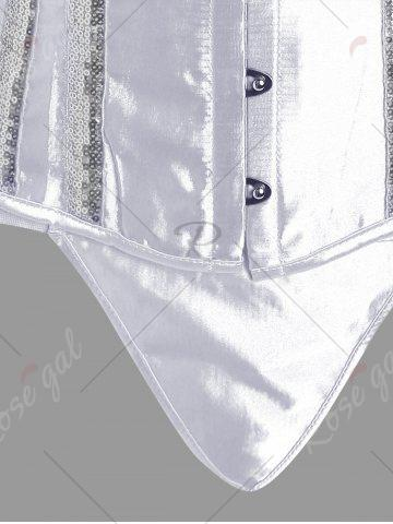 Outfits Ribbon Halter Sequins Corset Top - 2XL WHITE Mobile