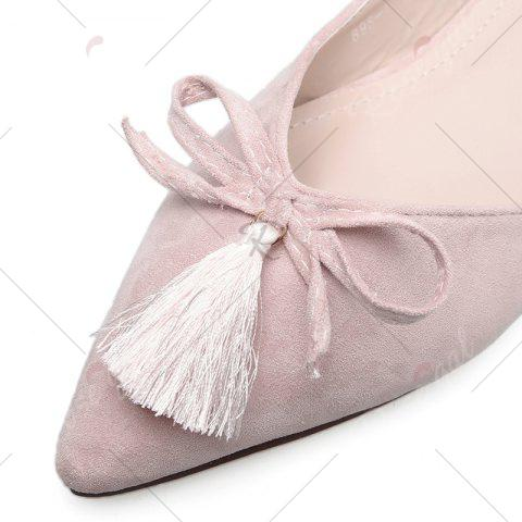 Latest Tassels Pointed Toe Flat Shoes - 37 LIGHT PINK Mobile