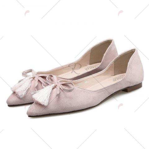 Online Tassels Pointed Toe Flat Shoes - 37 LIGHT PINK Mobile
