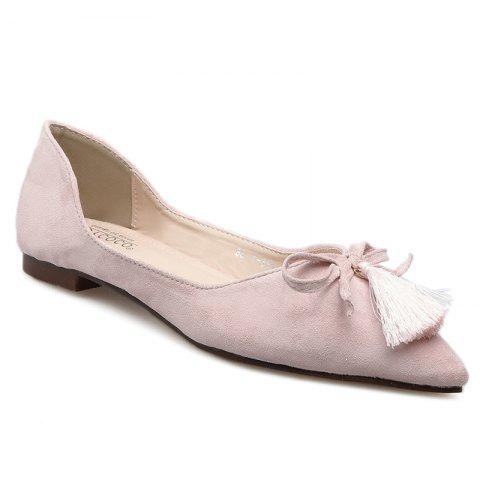 Outfits Tassels Pointed Toe Flat Shoes - 37 LIGHT PINK Mobile