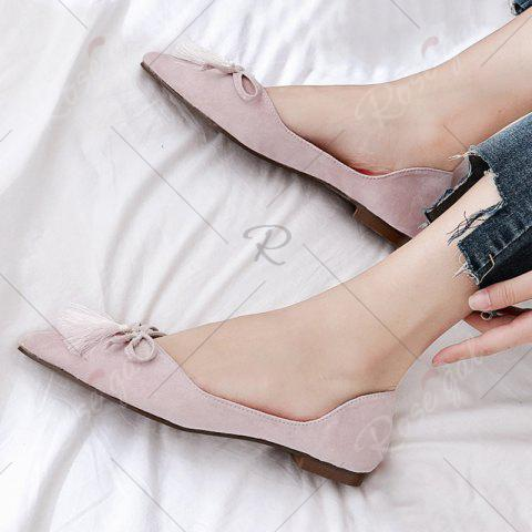 Latest Tassels Pointed Toe Flat Shoes - 38 LIGHT PINK Mobile