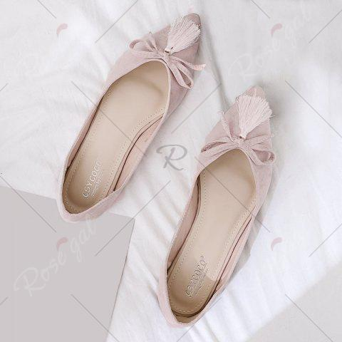 Outfits Tassels Pointed Toe Flat Shoes - 38 LIGHT PINK Mobile
