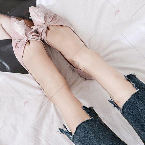Online Tassels Pointed Toe Flat Shoes - 38 LIGHT PINK Mobile