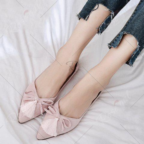 Best Tassels Pointed Toe Flat Shoes - 39 LIGHT PINK Mobile