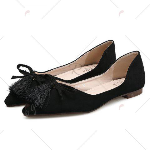 Sale Tassels Pointed Toe Flat Shoes - 39 BLACK Mobile
