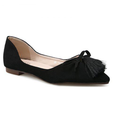 Tassels Pointed Toe Flat Shoes - Black - 38