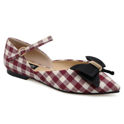 Hot Point Toe Bowknot Plaid Flats - 39 RED Mobile
