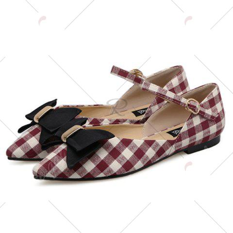 Hot Point Toe Bowknot Plaid Flats - 37 RED Mobile