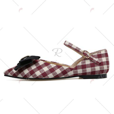 Buy Point Toe Bowknot Plaid Flats - 37 RED Mobile