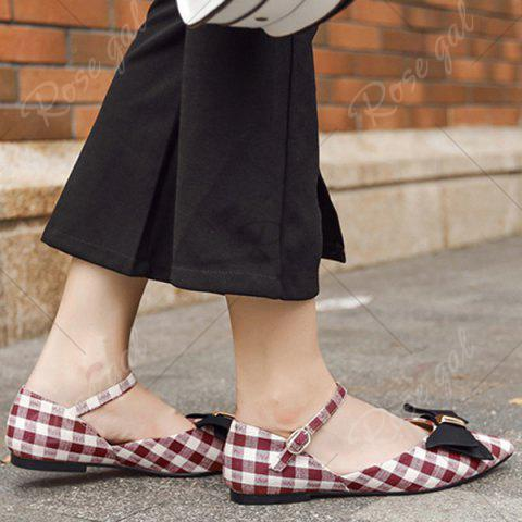 Trendy Point Toe Bowknot Plaid Flats - 37 RED Mobile