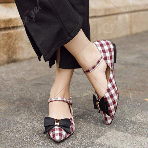 Fancy Point Toe Bowknot Plaid Flats - 37 RED Mobile