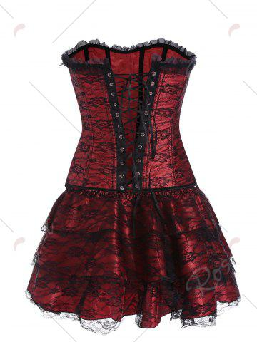 Latest Lace Up Corset Two Piece Dress - 2XL RED Mobile