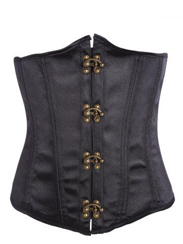 Affordable Lace Up Underbust Corset BLACK S